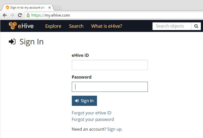 my.eHive.com Sign In page