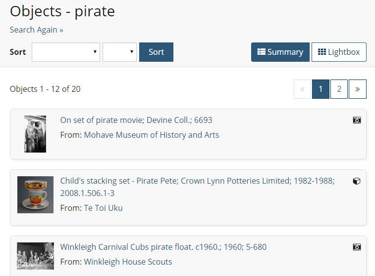 Object search showing results from different eHive collections