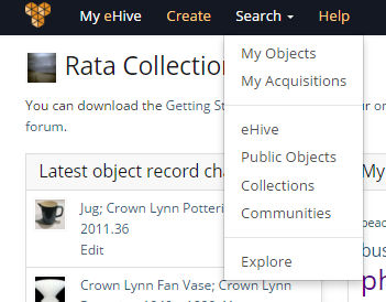 Search Menu for signed in eHive Users